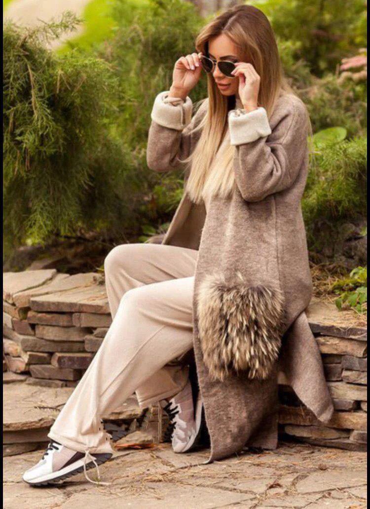Стильное пальто кардиган с карманами из меха енота