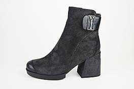 Ботинки на каблуке Bacyni 7790 36 замш-велюр графит