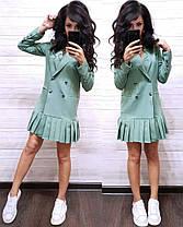 Платье пиджак на пуговицах снизу плиссировка, фото 3