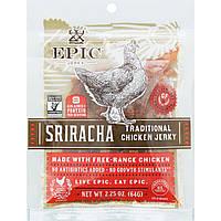 ОРИГІНАЛ!М'ясні снеки Epic Bar в'ялене м'ясо з куркою,Шрірача,64 грама виробництва США