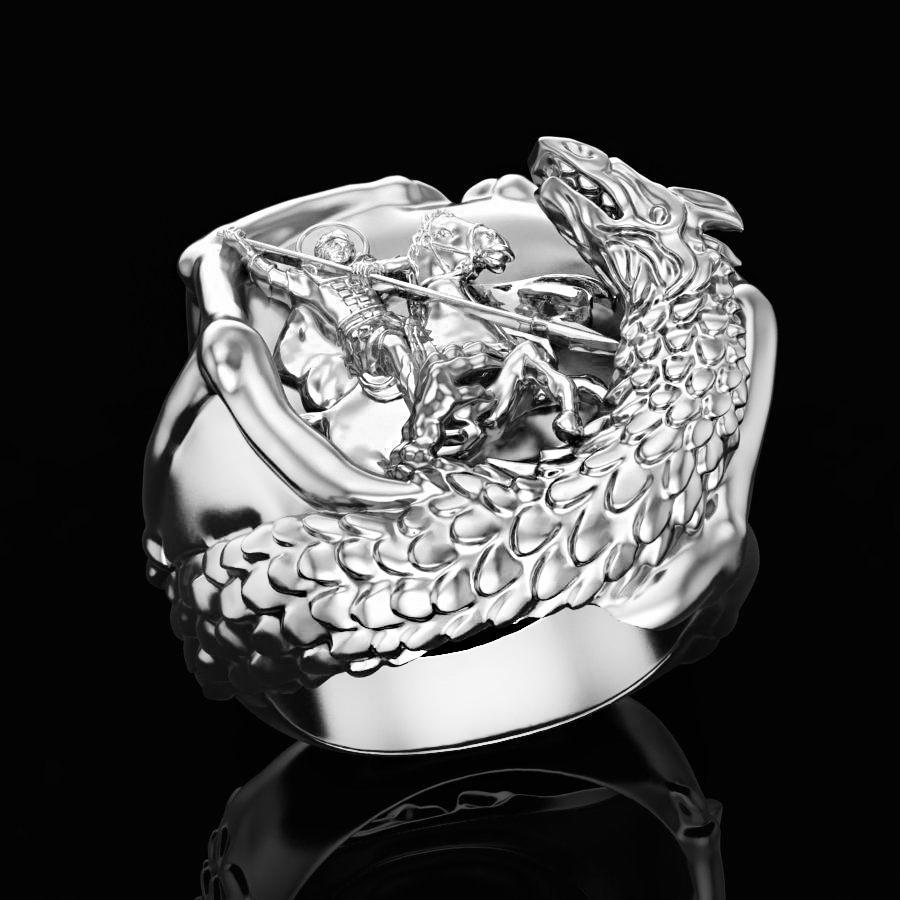 Кольцо серебряное Георгий Победоносец КЦ-140 Б