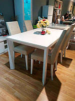 Большой раскладной стол Римини-4 белый, на четырех ногах, 1400/2300х850х760