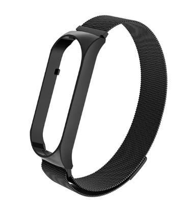 """Металлический браслет """"миланская петля"""" с магнитной застёжкой на фитнес трекер Xiaomi mi band 5 Цвет Чёрный"""