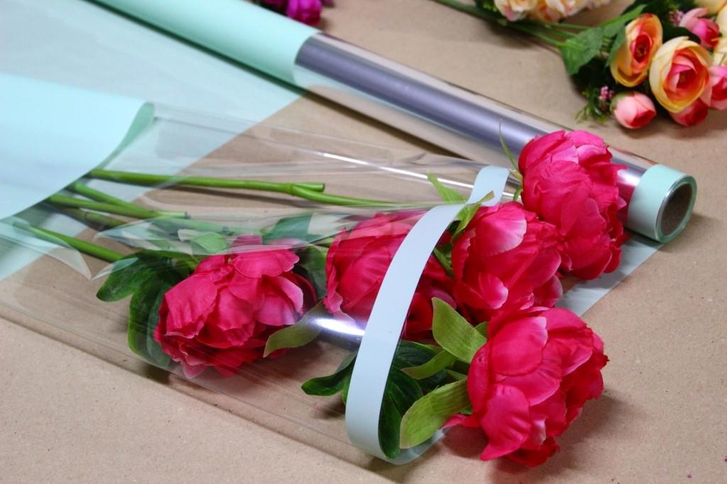 Калька для упаковки квітів в рулоні М'ята з непрозорим краєм 0,7×10 м