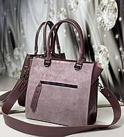 Замшевая женская сумка комбинированная модная небольшая квадратная стильная темная пудра замша+экокожа, фото 1