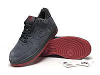 """Зимние замшевые мужские кроссовки с мехом Nike Air Force  """"Темно-серые"""" р. 41-45"""