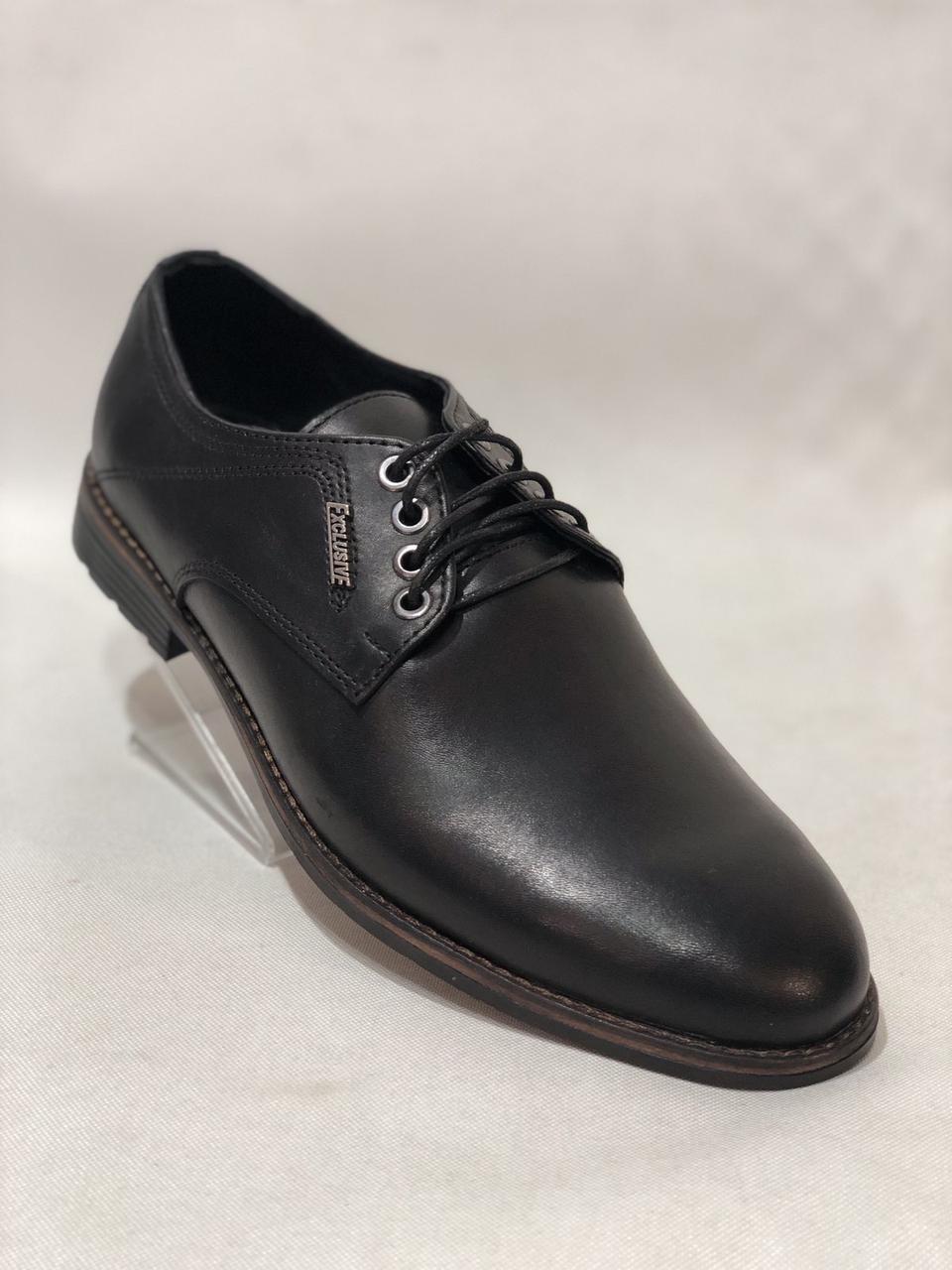 Туфли мужские кожаные BASTION (Бастион) на шнурках Черные