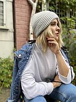 Шапка жіноча ангоровая м'яка з підворотом стильна сіра закруглена
