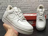 """Зимние кожаные мужские/женские кроссовки с мехом Nike Air Force  """"Белые"""" р. 36-45"""