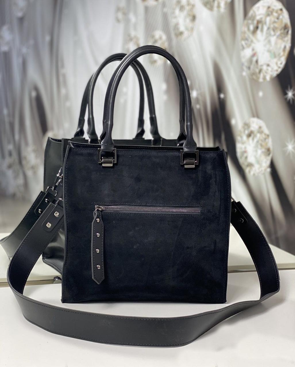 Сумка женская черная средняя классическая небольшая комбинированная квадратная стильная замша+экокожа