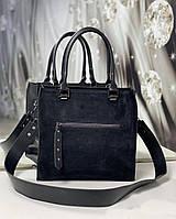 Сумка женская черная средняя классическая небольшая комбинированная квадратная стильная замша+экокожа, фото 1