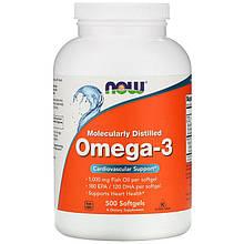 """Рыбий жир NOW Foods """"Omega-3"""" поддержка сердечно-сосудистой системы (500 капсул)"""