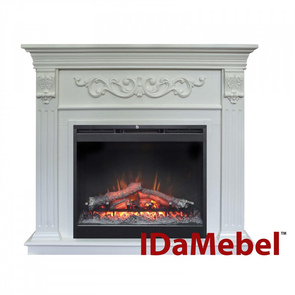 Каминокомплект IDaMebel Marseille DF2624L-INT Белый эффект мерцающих дров и пламени Optiflame