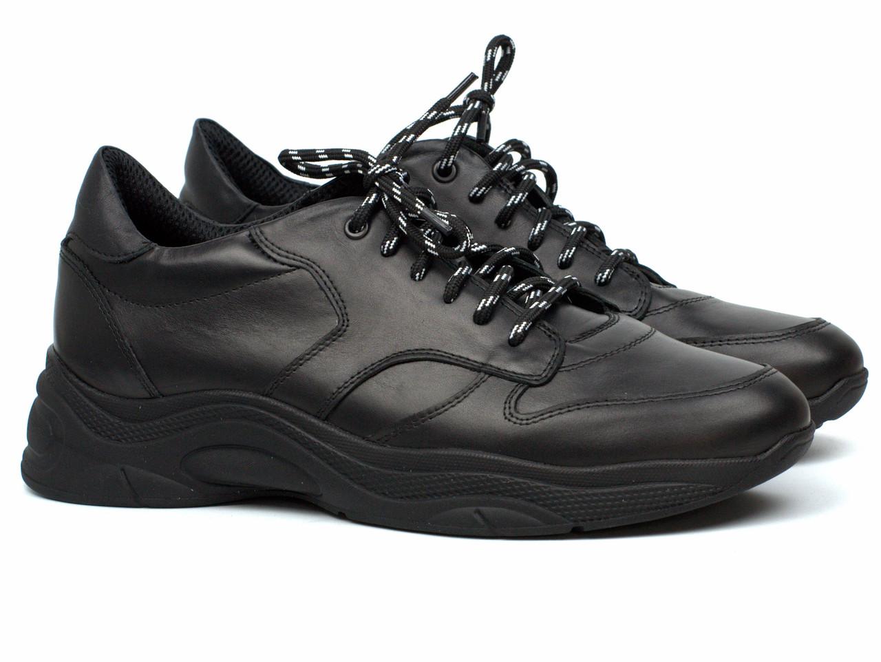 Чоловічі чорні кросівки шкіряні взуття демісезонне Rosso Avangard Black Panther
