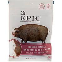ОРИГІНАЛ!М'ясні снеки Epic Bar,Незасолені яловичина і свинина,копчені з гікорі,71 грам виробництва США
