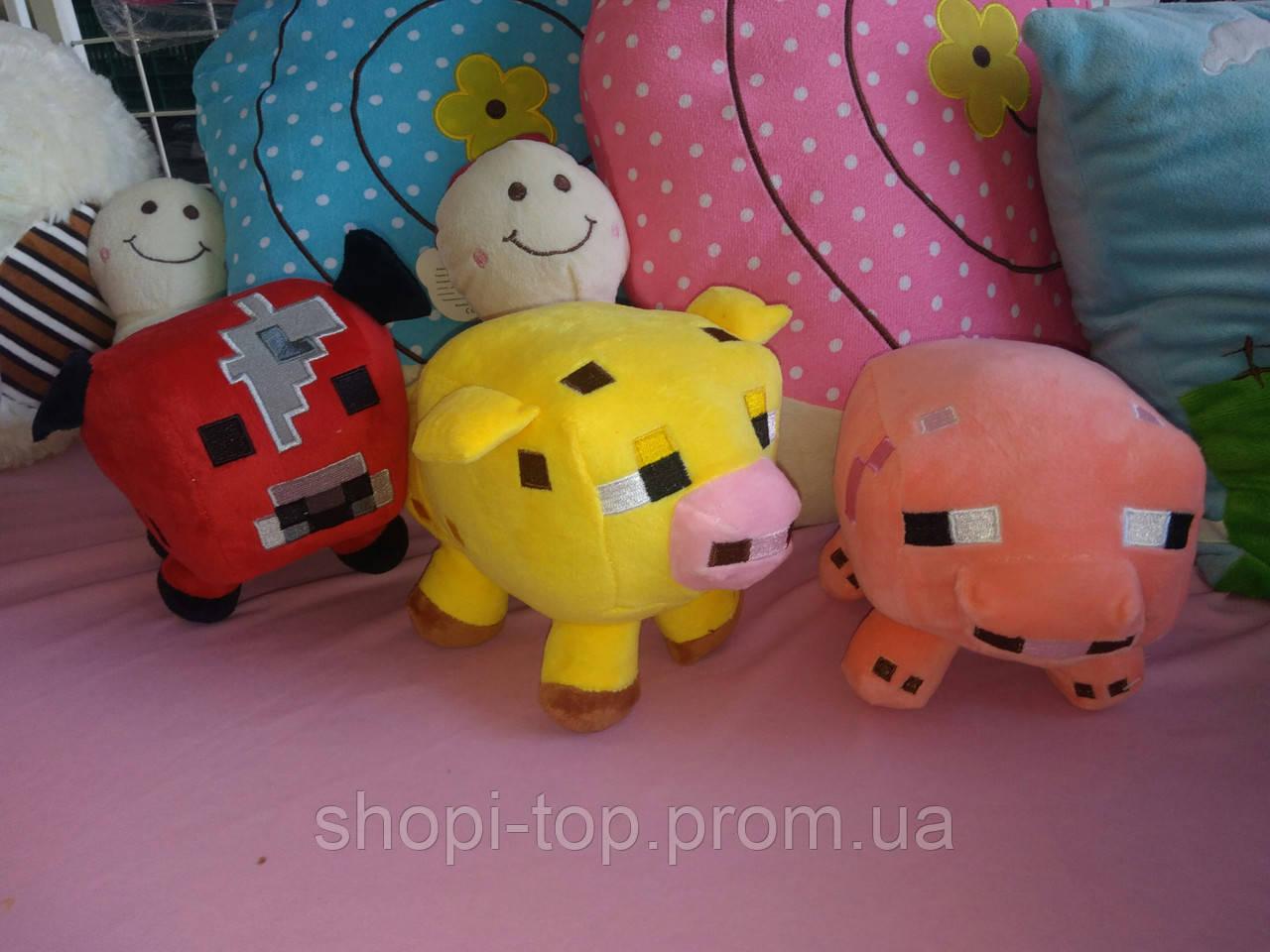 Мягкие игрушки майнкрафт Кот Оцелот,Свинка или Грибная корова