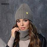 Вязанный набор шапка+баф пряжа 60%ангора, 40% акрил, фото 3