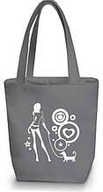 """Женская сумка - """"Девушка с собачкой"""" Б52 - серая"""