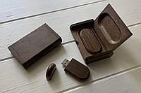 Деревянная флешка со шкатулкой коричневая