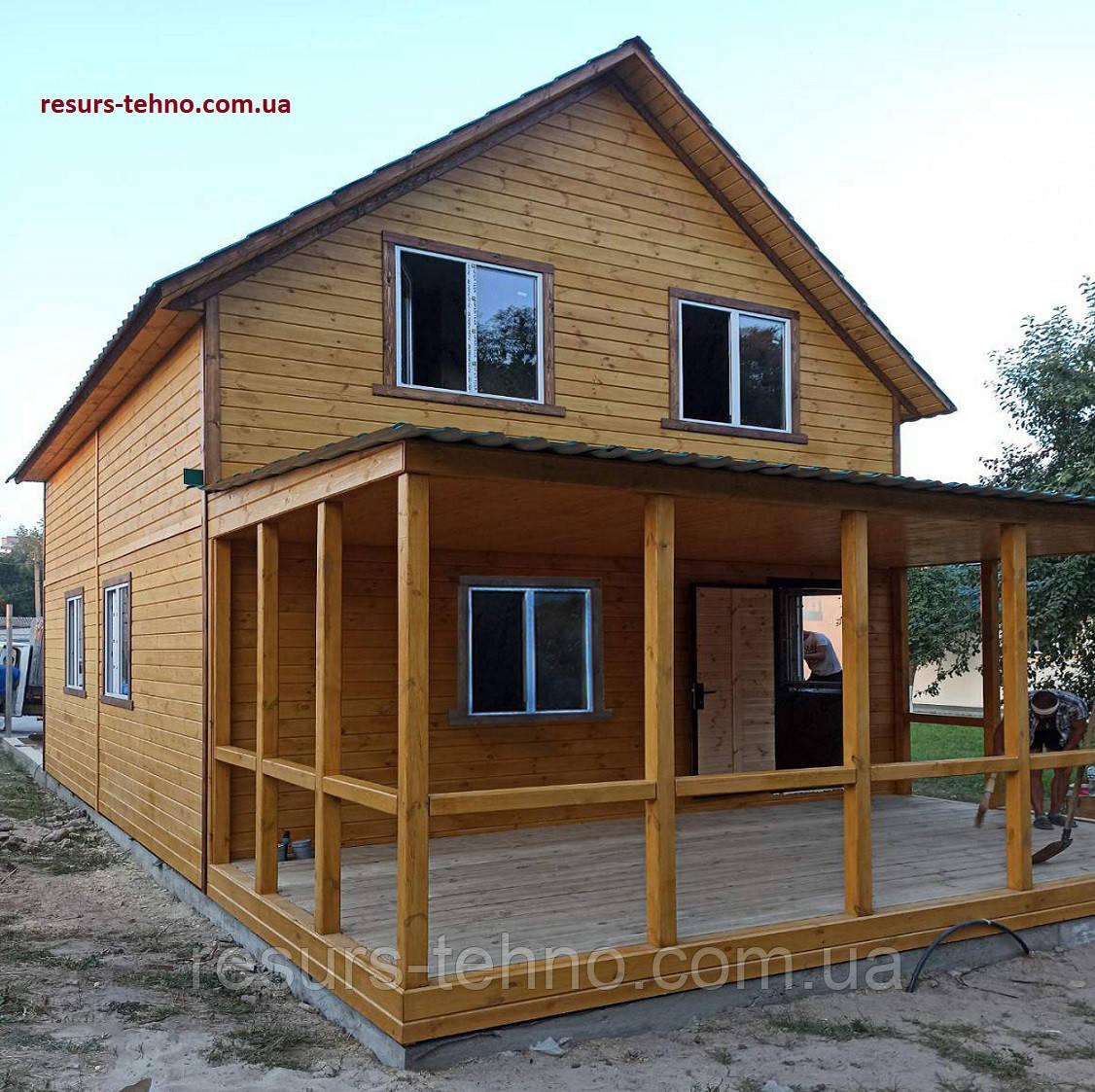 Дачный домик 6,0м х 8,0м из  с мансардой и террассой