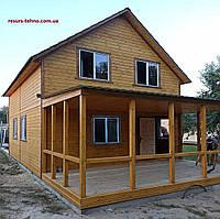 Дачный домик 6,0м х 8,0м из  с мансардой и террассой, фото 1