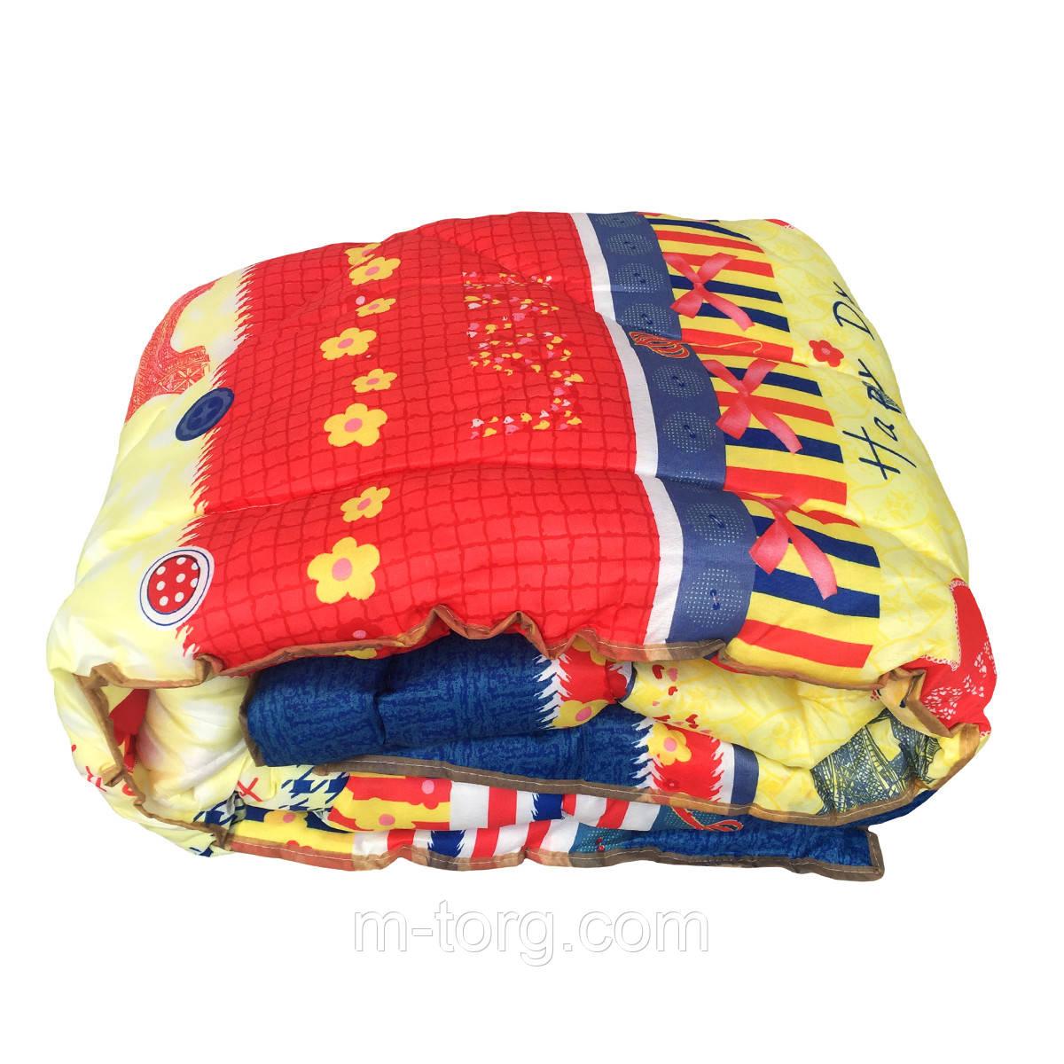 Недорогое шерстяное  полуторное одеяло 145/215, ткань поликотон