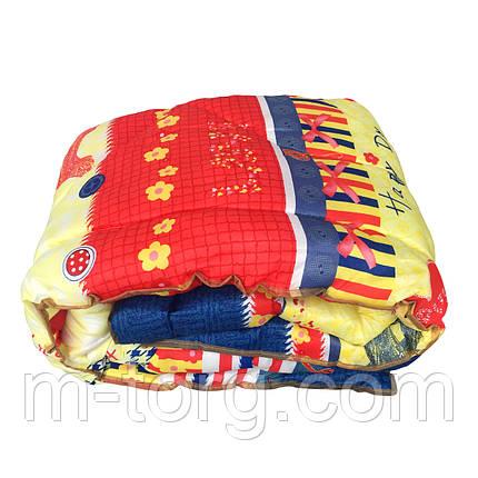 Недорогое шерстяное  полуторное одеяло 145/215, ткань поликотон, фото 2