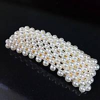 Прикраса для волосся вкрите перлами (шпилька клік клак квадратна) 7,5 см