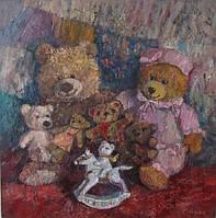 Картина на тему любви  «Семья мишек» (купить картину для дома, декорирование дома)