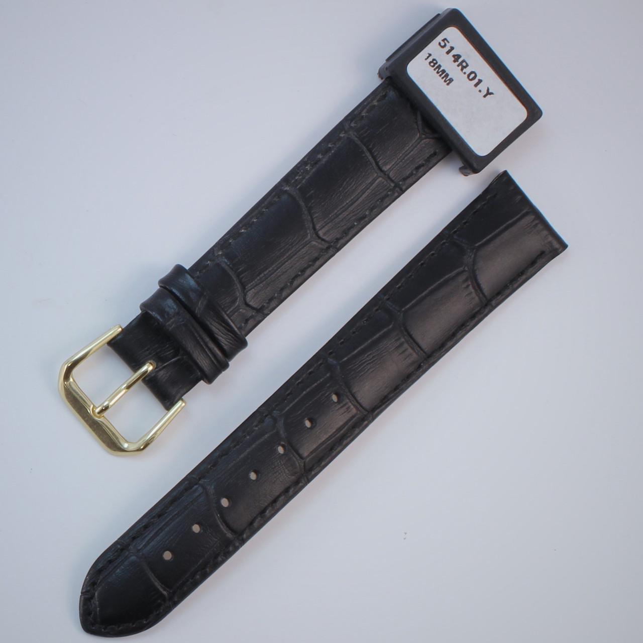 18 мм Кожаный Ремешок для часов CONDOR 514L.18.01 Черный Ремешок на часы из Натуральной кожи удлиненный