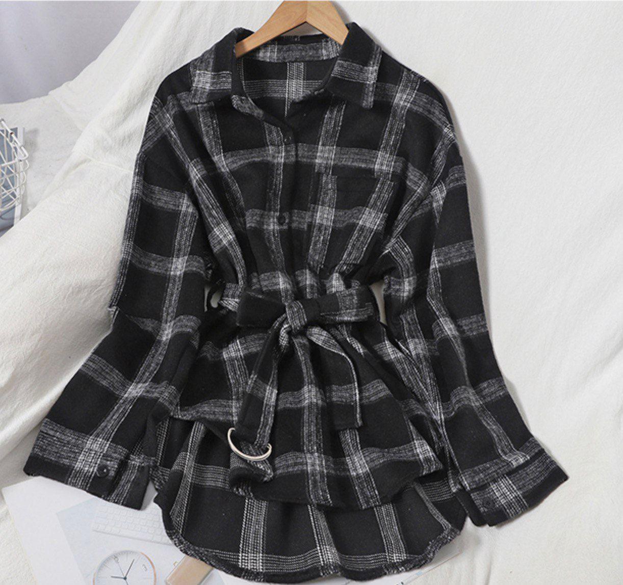 Теплая женская рубашка в клетку с поясом 42-46 р