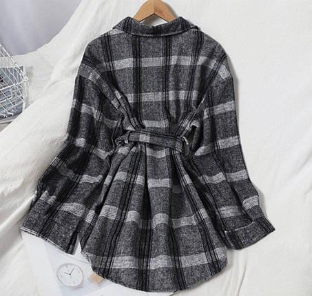 Теплая женская рубашка в клетку с поясом 42-46 р, фото 2
