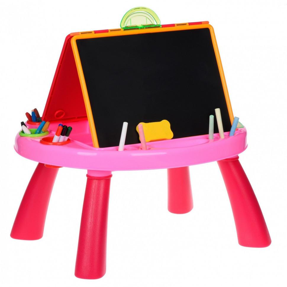 Мольберт для рисования мелом и маркером 8806M Розовый