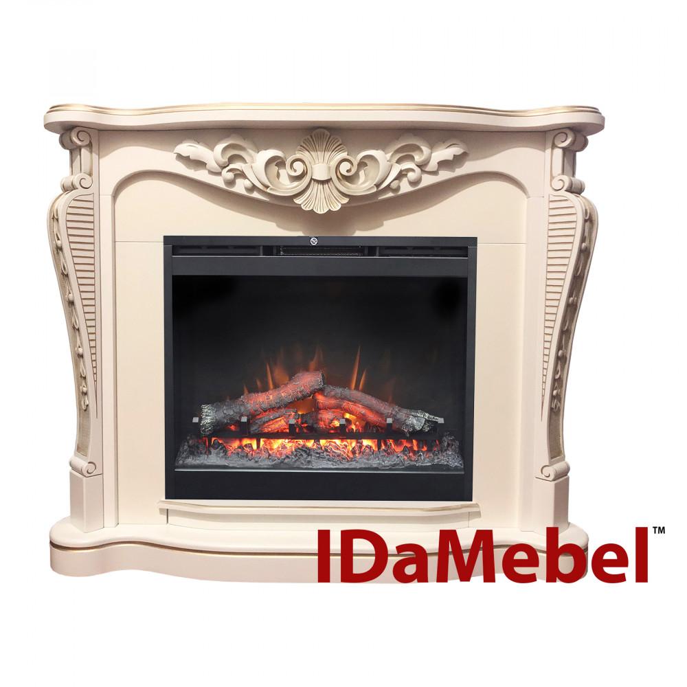 Каминокомплект IDaMebel Dallas White Symphony DF2624 эффект мерцающих дров и пламени Optiflame