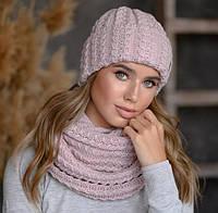 """Женская шапка и хомут комплект """"Вита"""" цвет - пудра"""