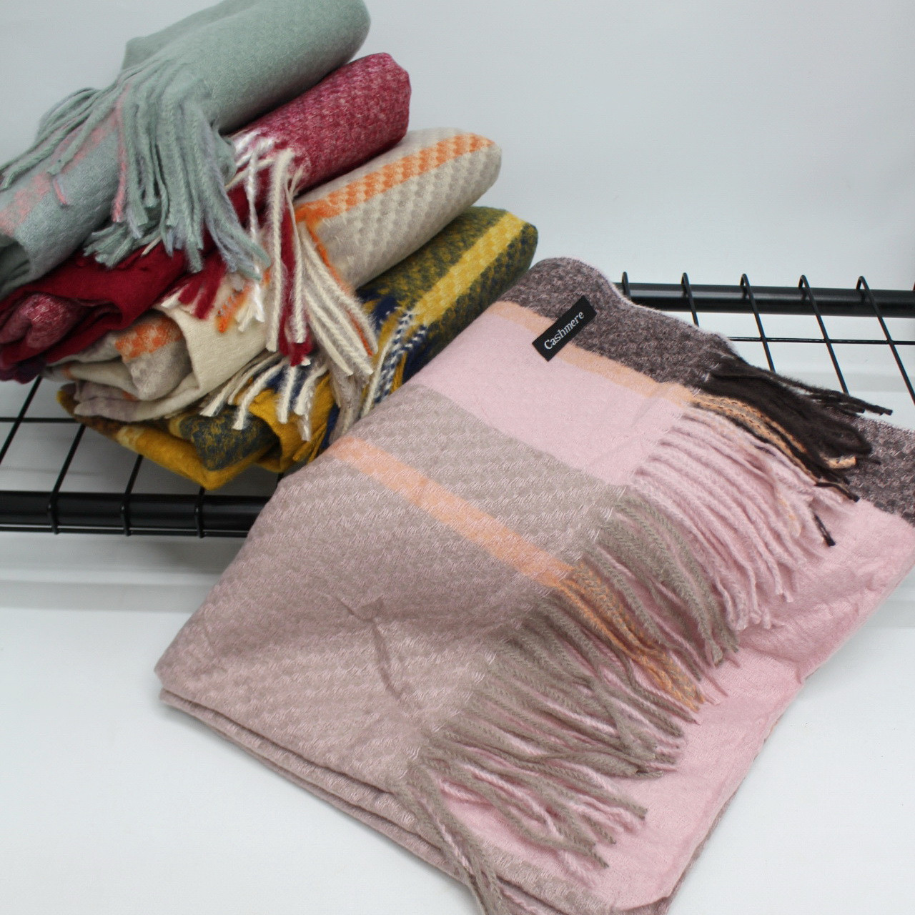 Кашемировый теплый шарф палантин  Cashmere 128002