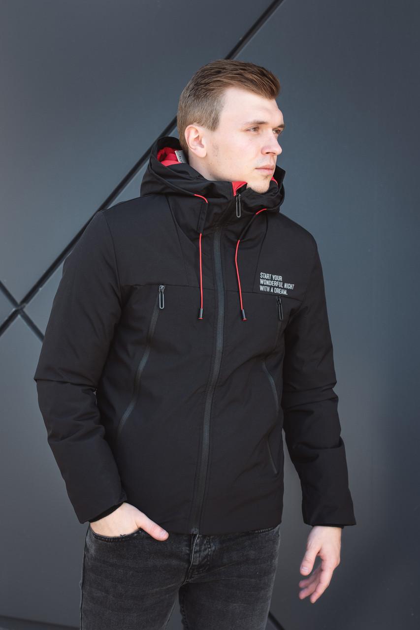 Термокуртка демосизонная мужская черная Glo-Story
