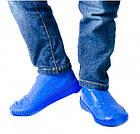 Силіконові чохли бахіли для взуття від дощу і бруду розмір L 42-45 розмір колір сині, фото 3