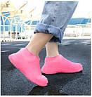 Силіконові чохли бахіли для взуття від дощу і бруду розмір L 42-45 розмір колір рожеві, фото 4