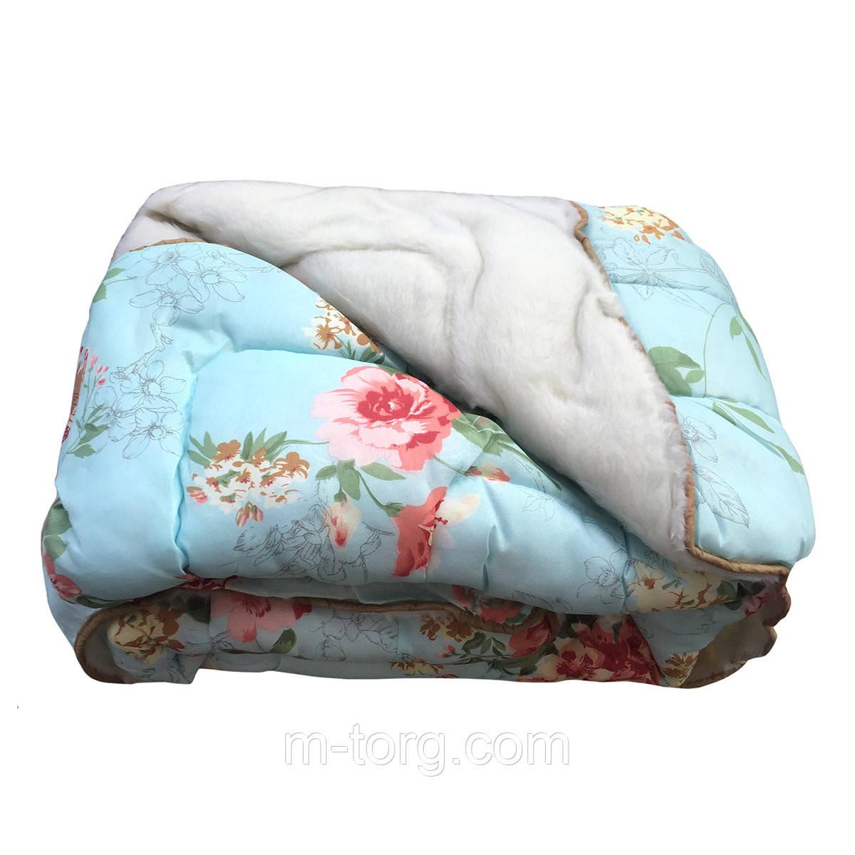 Недорогое шерстяное  полуторное одеяло с мехом 145/215, ткань поликотон