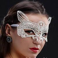Ажурная маска с ушками. Белая, фото 1