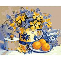 Картина по номерам раскраска по цифрам холст с контуром для взрослых 50х40см абрикосовый натюрморт