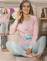 Трикотажная женская пижама кофта и брюки на манжете, фото 1