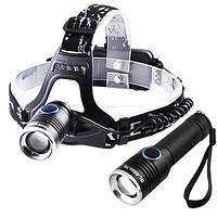 Фонарь 2 в 1 налобный + в руку Police 6888-T6, ЗУ micro USB, 2x18650, zoom, Box, фото 1