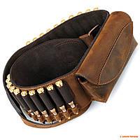 Патронташ кожаный для нарезного оружия с карманом Artipel / Италия