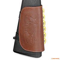 Кожаный патронташ на приклад Волмас, коричневый, для 6 гладкост. патронов
