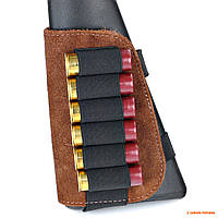 Патронташ на приклад ружья 12 калибра Волмас, замша, коричневый