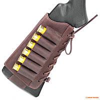Кожаный патронташ на приклад Волмас, 12 калибр, цвет: Коричневый
