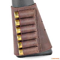 Кожаный патронташ на приклад на липучке Волмас, цвет: Коричневый