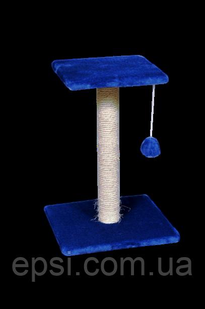 Когтеточка (дряпка) Тройка платф. нижняя 37х37см, верхняя 30х30см, высота-54см, сизаль, синяя